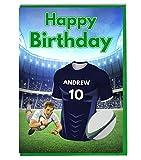 Maillot de rugby carte d'anniversaire–Castres Couleurs–personnalisé avec un nom et numéro
