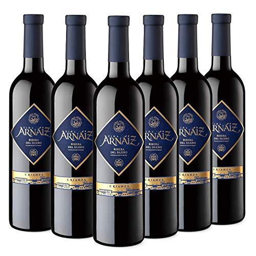 Viña Arnáiz Crianza Vino Tinto D.O Ribera del Duero, Crianza de 14 Meses, Volumen de Alcohol 14%, Pack de 6 Botellas x 75 cl