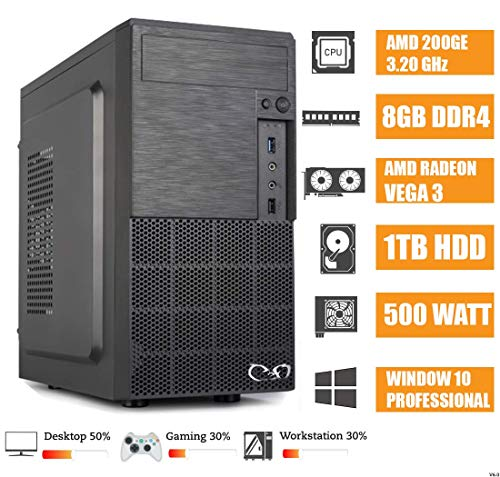 - CeO Alpha V1 - Ordenador de Sombremesa AMD 200GE 3.20GHz 4MB Cache | 8GB Ram DDR4 | 1TB Hard Disk |Tarjeta gráfica Radeon Vega 3 | HDMI/VGA Full HD | USB 3.0 | WINDOWS 10 PRO