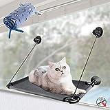 MASTERTOP Hamaca para gatos, para ventanas, con 1 funda de tela de franela, espacio de tumbona estable para gatos, baño de sol, cama para mascotas (67 x 38 cm)