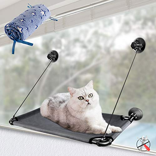 MASTERTOP Katzenhängematte, Katzen Fensterplätze mit 1 Flanell Stoffbezug, Stabiler Fensterliegeplatz für Katze,Sonnenbad Katzenbett Haustierbett (67 * 38cm)