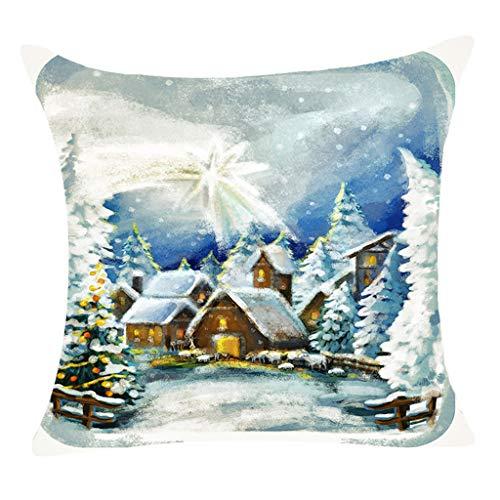 Deloito Weihnachtstag Dekorative Kissenbezug Winter Schneeszene Ansicht Muster Drucken Platz Kissenhülle Schlafzimmer Zuhause Dekor (C,45x45cm)