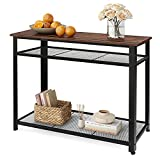 WLIVE Industrial Console Table with Storage Shelf for Entryway, 3-Tier Sofa Table Hallway Table with Metal Frame, for Living Room, Corridor, Narrow, Rustic Brown