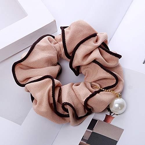 ZWH Modelos de explosión transfronterizas Nueva Tela de Invierno Ornamentos del Pelo Fabricantes de Productos a Medida de Colon Encaje del círculo del Pelo de la Perla C127 (Color : Skin)
