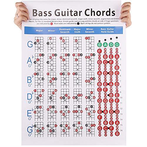 pequeño y compacto Allsunny Bass Guitar Chord Chart Instrumento de práctica de guitarra eléctrica de 4 cuerdas …
