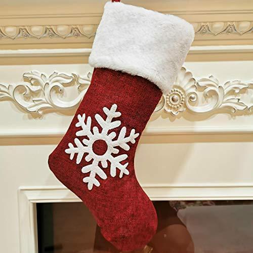 langchao Decoración navideña Colgante navideño Patrón de Ciervo Grande Decoración navideña Calcetines Calcetines navideños Bolsa de Regalo