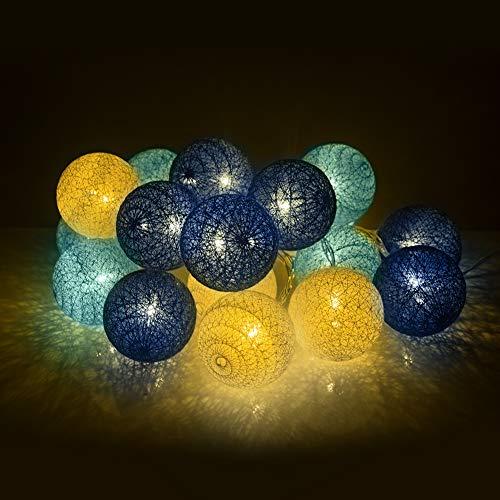 zonpor Baumwollkugeln, Cotton Ball Lichterkette, 20 Leds Kugel Lichterkette Wattebäusche Licht für Innen Nachtlicht Deko, Party, Garten, Hochzeit