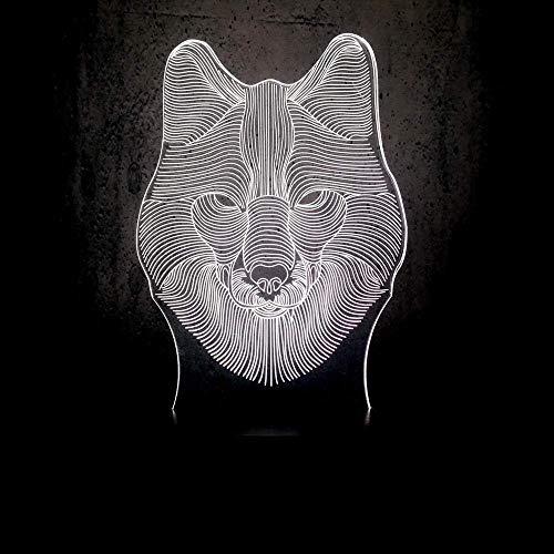 Lmpara de ilusin 3D Luz de noche LED Animal Lobo odo USB Multicolor Recuerdos de vacaciones Disfraz Juguetes para nios Lmpara de mesa tctil Luminaria de humor