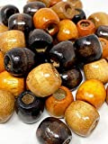 Crispy Collection Round Craft Wooden Beads Loose Dreadlock Braiding Hair Large Hole Beads Jewelry Making Supplies (15 MM)