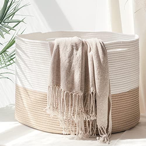 HOMYAM XXX Large Cotton Rope Basket 22x14 inches  Natural Cotton Rope Storage Basket  Blanket Basket  Toy Basket  Pillow Basket  Baby Laundry Basket  Large Woven Basket  Round Basket  Beige White