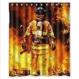 DIY Now Best Seller Vorhang Feuerwehr- & Feuerwehr-Design, wasserdicht, Weihnachtsgeschenk, Duschvorhang 60 x 72 cm