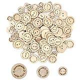 Disino 120 Pezzi Bottone in Legno Handmade with Love Bottoni Forma Tonda con 2 Fori per Fai da Te Craft Cucito Vestiti Scarpe Cappelli Capretti ed Adulti 15mm + 20mm + 25mm