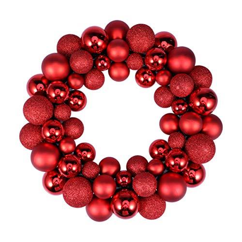 PRETYZOOM Weihnachtsball Kranz Ornamente Kranz Glitzer Hängen Bruchsicheren Kranz Weihnachten Künstliche Girlande Hängen Ferienhaus Kamin Wandtür Dekor (Rot)