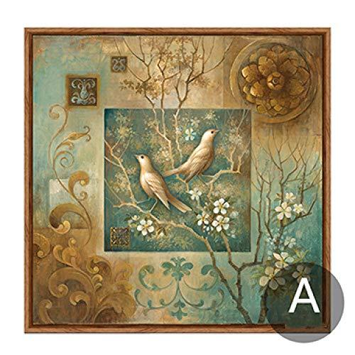 Baum Vogel Blume Leinwand Wohnzimmer Bild Grün Schlafzimmer Dekoration Wandkunst Poster und Drucke 50cmx50cm