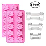 IHUIXINHE 2Packs Silicone Dog Paw Mold and 3 Packs Stainless Steel Bone Cookie Cutter, Dog Bone Biscuit Cookie for Homemade Treats and Cat Animal Paw Ice Candy Chocolate Baking Mold