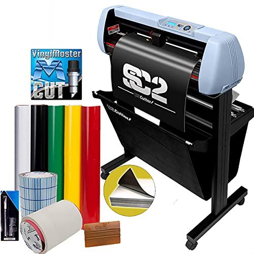 "USCutter 34"" SC2 Vinyl Cutter Sign Shop Starter Kit w/Basket, Vinyl Tape Tools"