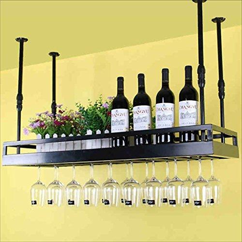Dongyd Portavasos de vino, Portavasas de vino vintage Estante Portavasas de vino de hierro forjado, Soportes de vino colgantes Portavasas de champán (Color : Black, Size : 120 * 35cm)
