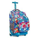 """J World New York Rolling Backpack Girls Boys Roller Bookbag Wheels, Tie Dye, 20"""""""