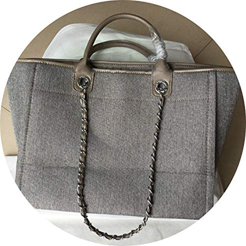 Luxury Women Hand Bags Famous Brand Designer Lady Causal Totes Embroider Canvas Chains Beach Bags Shipping Puse,Gray