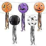 Decoración de linterna de Halloween, linterna de Halloween 5 piezas linternas chinas linterna de papel de Halloween con decoración de pantalla redonda para decoración de fiesta de Halloween