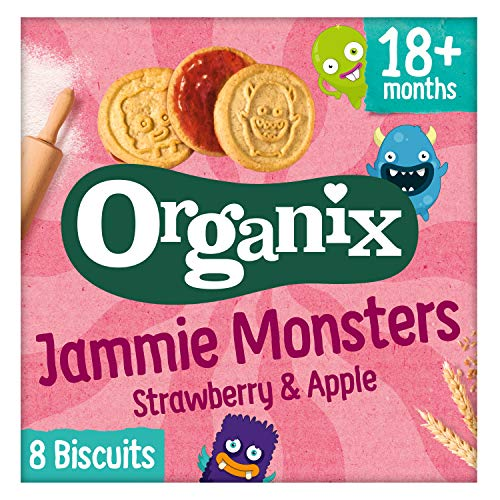 Organix Jammie Monsters Organic Jam Toddler Snack Biscuits Multipack 8x8g (Pack of 4)