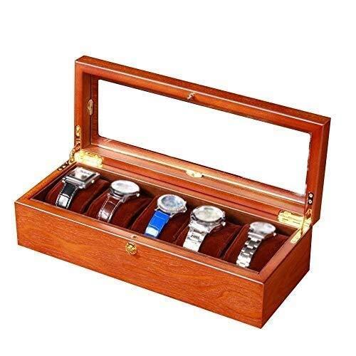 XUSHEN-HU Caja de reloj de los hombres 5 ranuras de reloj joyería de madera caja de exhibición de cristal de almacenamiento superior