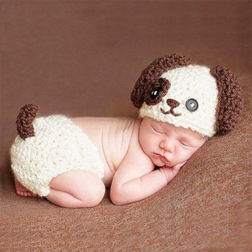 PEPEL pasgeborenen fotografie rekwisieten schattige hond handwerk gehaakt unisex baby gap outfit