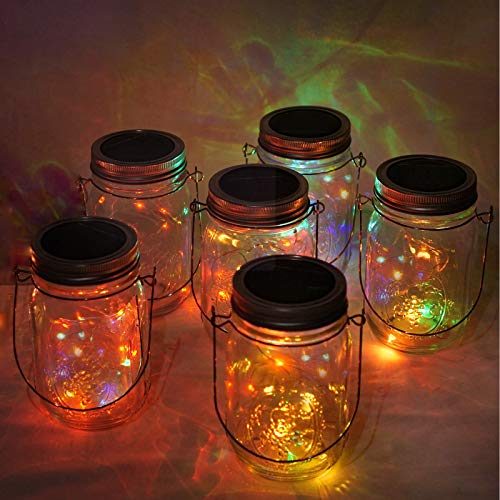 Solar Mason Jar Lid Lights, 6 Pack 10 LED Waterproof Fairy Firefly String Lights with (6 Hangers Included,Jars Not Included), for Mason Jar Table Garden Wedding Party Decor (5 Colors)