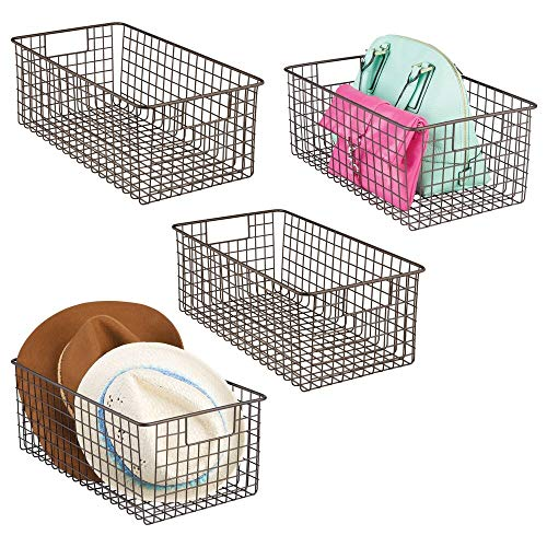mDesign Farmhouse Decorative Metal Wire Storage Basket Bin with Handles for Organizing Closets Shelves and Cabinets in Bedrooms Bathrooms Entryways and Hallways - 4 Pack - Bronze