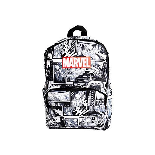 Mochila Homem Aranha Quadrinhos/HQ, Série Marvel. Cor Preto e Branco. Composição: poliéster