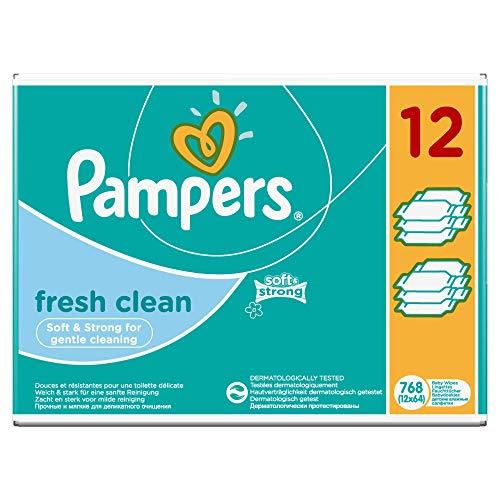 Pampers Fresh Clean Feuchttücher, 12Packungen 768Feuchttücher