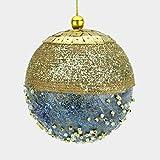 ALMACENES CASA ANGEL Set DE 6 Unidades DE Bolas DE Navidad con Escarcha Y Perlas EN Color Oro DE 9 cm Ideal para DECORACIÓN DE ÁRBOL DE NAVIAD Y DECORACIÓN DE NAVIAD (Azul, Set DE 6 Unidades)
