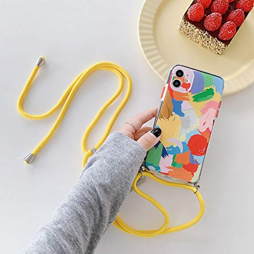 Graffiti Bracelet Phone Cases for iphone 11 pro max X XS XR 7 8 Plus SE 2020 12 mini Colorful Chain Soft Back Cover,CASE With Strap,for iPhone X XS