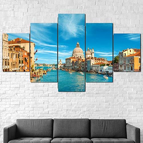 Cuadro En Lienzo 200X100Cm Gran Canal De Venecia Italia Impresión De 5 Piezas Material Tejido No Tejido Impresión Artística Imagen Gráfica Decor Pared