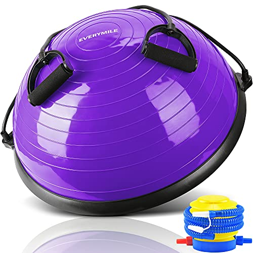 EVERYMILE Half Ball Balance Trainer Stability Yoga Exercise Ball with Resistance Bands & Pump for Home Gym Core Training Yoga Fitness Ab Strength Workouts, 23 inch Anti-Skid Surface