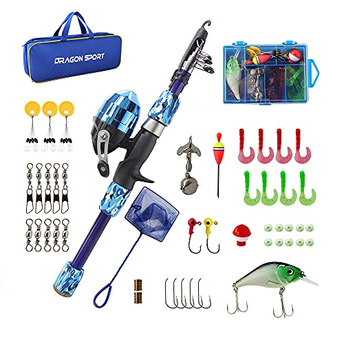 Kids Fishing Pole Spincast Youth Fishing Pole Tackle Box - with Net,Travel Bag,Rod and Reel Kit for Boys and Girls, Youth or Beginner's (Blue)