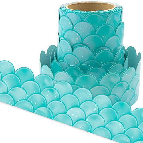 Ombre Turquoise Scallops Bulletin Board Borders for Classroom Decoration 36ft