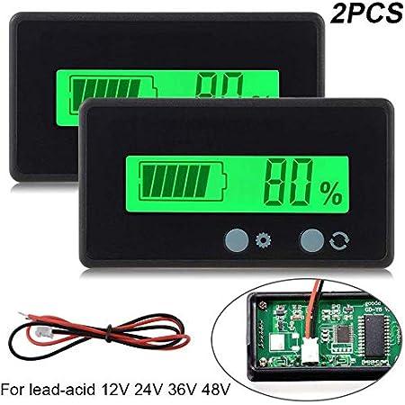 2 Stück Lcd Batterie Kapazität Monitor Gauge Meter Wasserdicht 12v 24v Lithium Batterie Kapazität Tester Spannung Meter Monitor Grün Hinterleuchtet Für Fahrzeug Batterie Auto