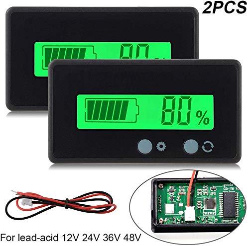 2 stück LCD Batterie kapazität Monitor Gauge Meter, wasserdicht 12v / 24v Lithium Batterie kapazität Tester Spannung Meter Monitor grün hinterleuchtet für Fahrzeug Batterie