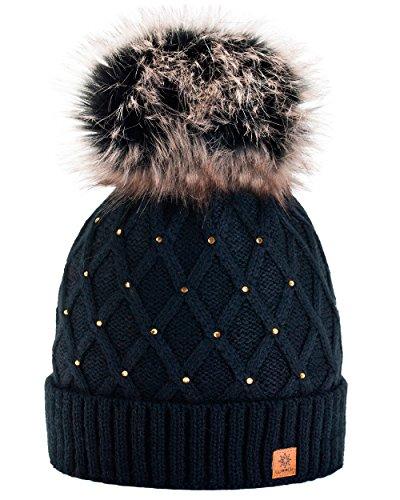 Morefaz - Gorro de invierno para mujer, decorado con cristales brillantes, con pompón, de lana, de estilo esquí y snowboard, moderno, negro