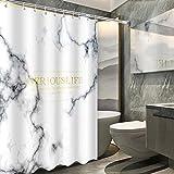 Shower-YJ Blanco Cortina De Ducha Tela Poliester Impermeable Antimoho Resistente Al Moho para Baño Bañera Máquina Lavable Cortinas Fácil Limpiar con Ganchos Canica,[150 * 180CM]