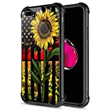 iPhone 8 Plus Case, 9H Tempered Glass Sunflower Flag iPhone 7 Plus Cases [Anti-Scratch] Fashion Cute Pattern Design Cover Case for iPhone 7/8 Plus 5.5-inch Sunflower Flag