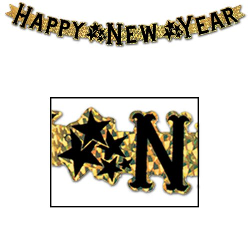 Prismatic Happy New Year Streamer (gold) Party Accessory  (1 count) (1/Pkg)