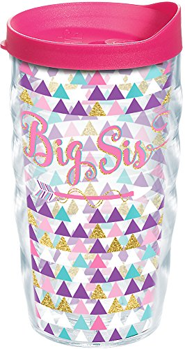 Tervis Big Sis Tumbler with Wrap and Fuchsia Lid 10oz Wavy, Clear
