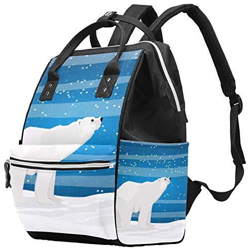 Mochila multifunción, grande para pañales, diseño de osos en la noche estrellada en el norte, mochila de viaje para mamá y papá