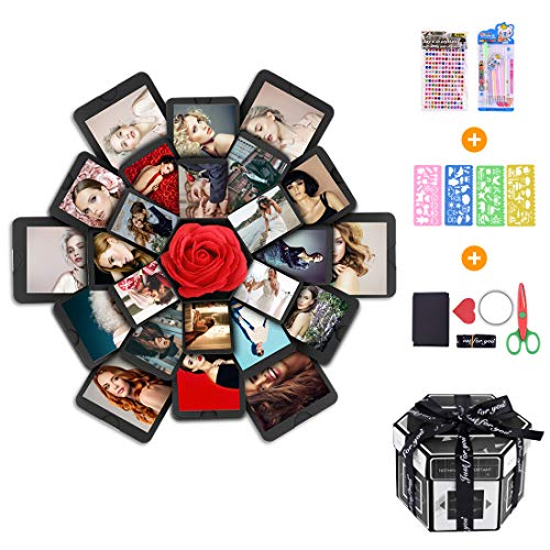 Erlliyeu Album fotografico pieghevole fai da te in scatola regalo a sorpresa, per Natale, compleanno, anniversario, San Valentino, proposta di matrimonio, festa della mamma … (LARGE)