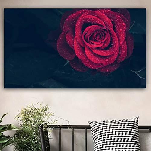 sanzangtang bloemen canvas kunst wandposter woonkamer decoratie rode roos muurschildering decoratie zonder frame