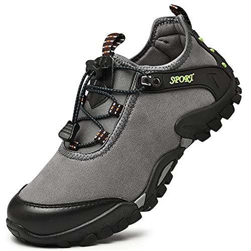 Botas para Caminar para Hombre,Calzado para Bicicleta de Montaña para Montar en Ciudad,Calzado para Senderismo Ligero y Antideslizante y Transpirable para Mujer,Grey-44