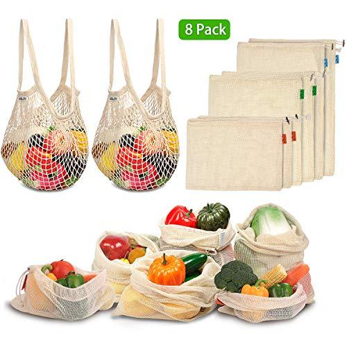 Umweltfreundliche Einkaufstaschen, Bio-Baumwolle, Gemüse, Obst, wiederverwendbar, atmungsaktiv, Netztasche für Lebensmittel, Transport, Gemüse, Spielzeug 8 Stück