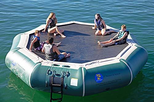 Island Hopper 17' Bounce N Splash Padded Water Bouncer - Natural Green